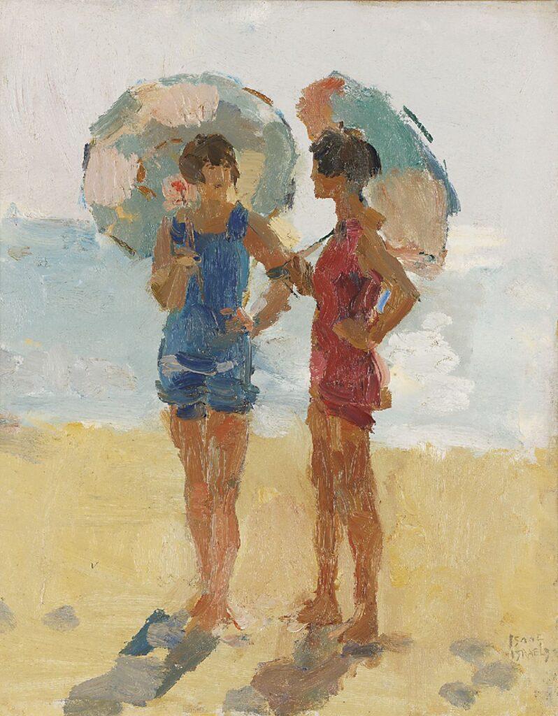 Meisjes met parasol op het strand, Viareggio