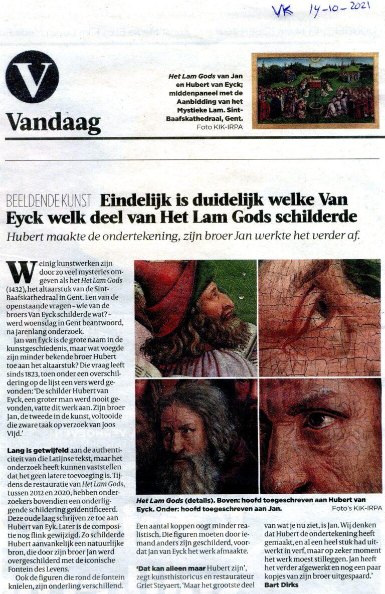 Duidelijkheid welke Van Eyck welk deel schilderde (14-10-2021)