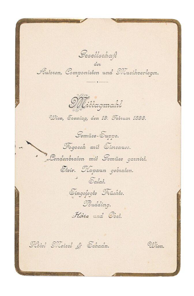 Hotel Meissl & Schadn - Menukaart voorkant (1899)