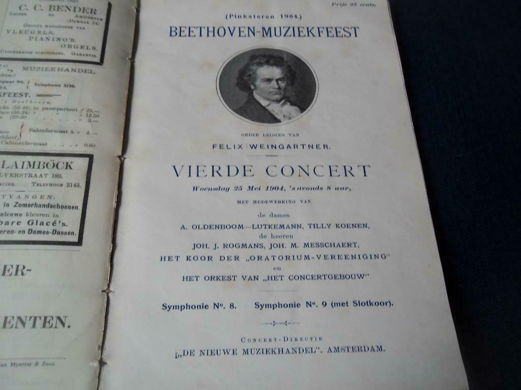 Programmaboekje 1903 Beethoven-Muziekfeest 25 mei 1904