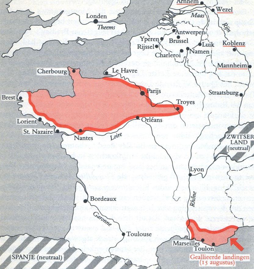 Situatie op 25 augustus 1944