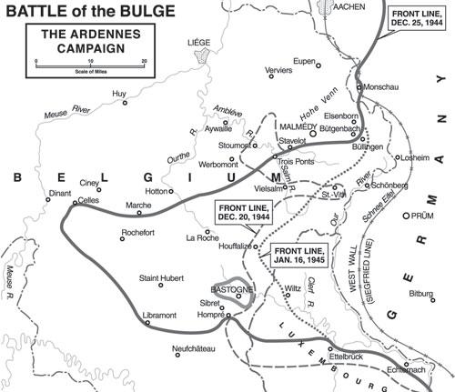 Ardennenoffensief situatie 20 december 1944, 25 december 1944 en 16 januari 1945