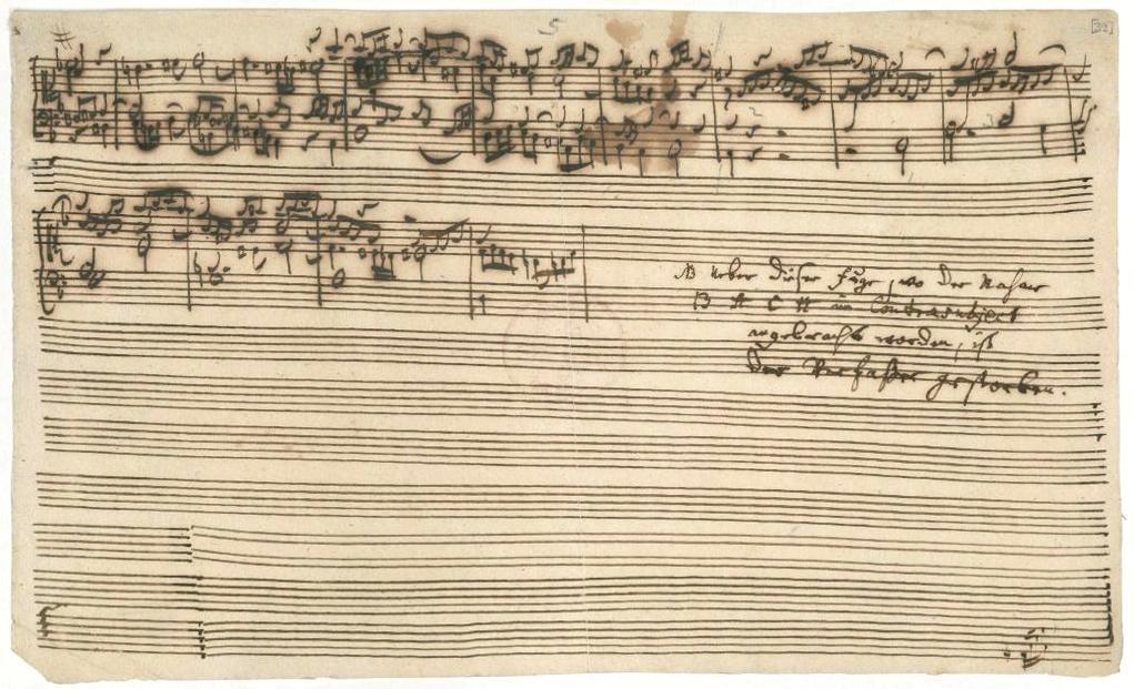 Die Kunst der Fuge onvoltooide Contrapunt 14 met aantekening van C.Ph.E. Bach