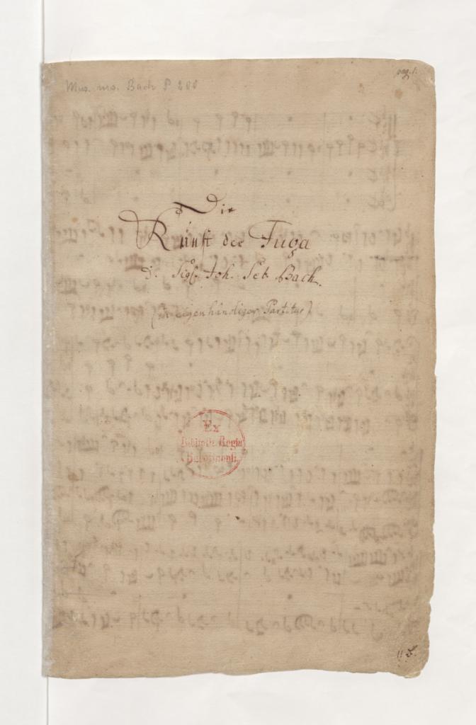 Die Kunst der Fuge met handtekening van J.S. Bach