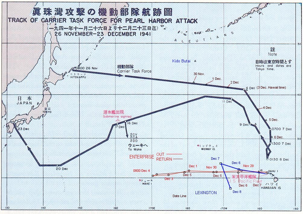 Route Japanse vloot naar Pearl Harbor en terug 1941