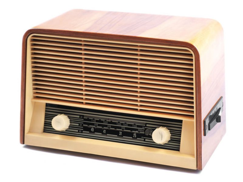 25969910 - old radio, with 60 years of last century, on a white background